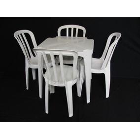 1 Jogo De Mesa Com 4 Cadeiras Brancas Plástico Empilháveis