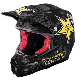 Fly Racing F2 Carbono Rockstar Mx Offroad Casco Negro Mate M