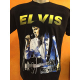Camiseta De Rock Elvis Presley Classica Com Violão Tam G