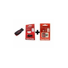 Kit 1 Pen Drive + 1 Cartão De Memoria 32gb Sandisk Original
