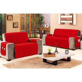 Capa Protetor De Sofa P/ 3x2 Lugares Vermelho Microfibra