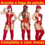 Fantasia Bombeira Lingerie Festa Espartilho Cinta Liga Sexy