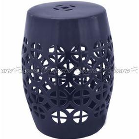 Garden Seat Banco Para Jardim Cerâmica Azul Escuro Design