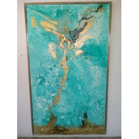 Cuadro Pintura Azul Y Oro Abstracto Arte Interiorismo