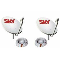 Kit Com Duas Antenas Completa Com Lnbf, E 40 Mts De Cabo