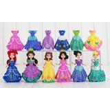 Kit 18 Peças Bonecas Princesas Disney Troca Roupa Boneca