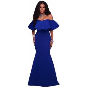 Sexy Vestido Sirena Largo Azul Rey Sin Hombros Fiesta Noche