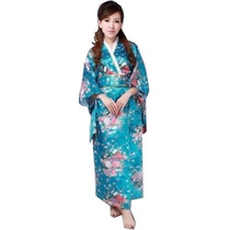 Kimono Japones Azúl Con Flores Unitalla