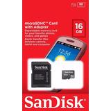 Cartão De Memoria 16 Gb Sandisk Memoria Micro Sd Adaptador