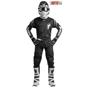 Traje Moto Cross Kit Pantalon Jersey Guantes Negro Ktm Honda