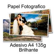 100 Folhas Papel Fotografico Adesivo A4 Prova D'agua
