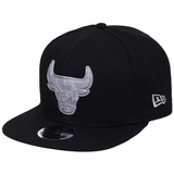 Boné New Era Aba Reta Snapback Nba Chicago Bulls Rubber Silv