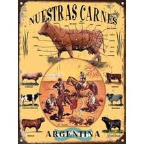Cartel Chapa Publicidades Antiguas Cortes Vacunos Carne L330