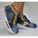 Zapato Plano Moda Jeans Oro Calzado Dama Mujer Envío Gratis