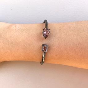 Bracelete Feminino Cristal Ametista Banho Ródio Negro