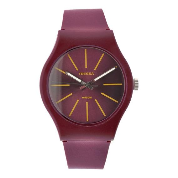 Reloj Mujer Tressa Fun Silicona Wine Pearl Sumergible Tr001