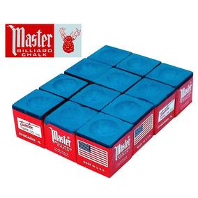 Giz Master Azul 12 Peças Para Taco De Bilhar Sinuca (10910)