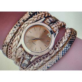 Relógio Feminino Leopardo Envoltório Trançado Do Falso Couro