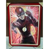 Quadro Pintado A Mão Super Herói Flash 50x70cm Tinta A Óleo