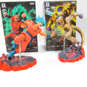 Action Figure Goku Ssj God Vs Freeza Gold   Pronta Entrega
