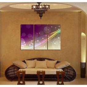 Cuadro Triptico Colores Violeta Burbujas Luces 60x90cm Total
