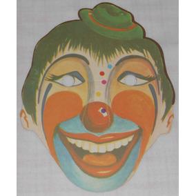 Palhaço Máscara Carnaval Antiga Papelão 100% Perfeita Anos70