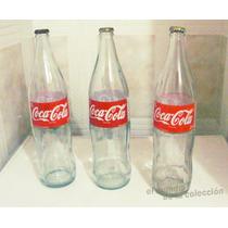 Botellas Coca Cola Coke 1litro Lote X3. Vidrio Vacia