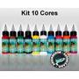 Kit Com 10 Tintas Para Tatuagens Electric Ink