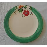 Prato Em Cerâmica Pintado A Mão Floral Borda Verde 22 Cm