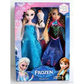 Kit 2x Bonecas Musical Frozen Ana E Elza + Olaf