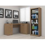 Conjunto 3 Móveis Estante Livros Balcão Escrivaninha Pc Rb