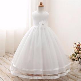 Vestido Infantil Longo Branco Rosa Casamento Comunhão Dama