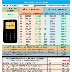 Planilha Pagseguro - Parcelamento - Simula Taxas Chip/tarja
