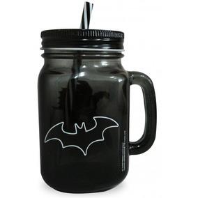 Caneca Vidro Com Canudo Liga Da Justiça Batman 450 Ml