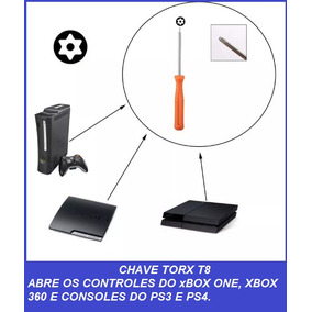 Chave Torx T8 C/ Furo Para Consoles Xbox One X360, Ps3 E Ps4