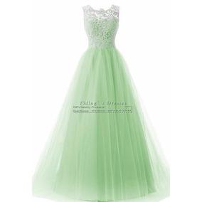 Vestido De Festa Madrinha Casamento Verde Com Renda 36/38