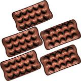 Kit 5 Formas Silicone Para Bombons Chocolate Formato Coração