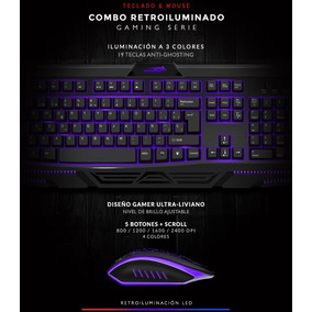 Combo Kit Teclado Mouse Gamer Retroiluminado Sentey Gs-5800