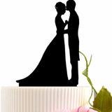 Topo De Bolo Acrílico Preto Casamento Noivado - Casal 6