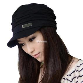 Estilo Coreano Mujeres Plisadas Gorra Sombrero... (black)