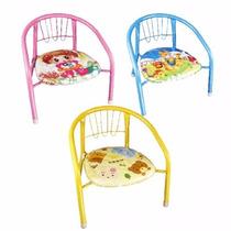 Cadeira Infantil Estampada Ferro Acento Macio Criança Até 6a