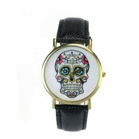 Reloj Catrina Calavera Skull Muerte Pulsera Negro Mexicano
