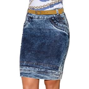 Saia Saia Via Tolentino Debruns Moda Evangélica Jeans Azul