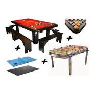 Mesa De Pool 240 + Metegol + Ping Pong + Kits + Banco Yeerom