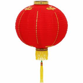 Luminária Oriental Japonesa Tecido 40 Cm Vermelha Couchin