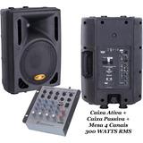 Caixa Ativa 10 Usb 300 W Rms + Caixa Passiva + Mesa Som