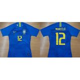 Camisa Futebol De Jogo Brasil X Russia # 12 Marcelo 2018