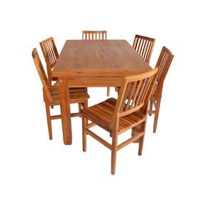 Mesa De Madeira De Demolição 1,5 M Com 6 Cadeiras Cambury