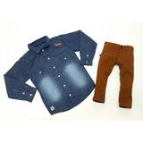 Conjunto Camisa Jeans Megan Com Calça Mostarda