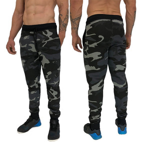 Calça Moletom Slim Fit Academia Treino Casual Camuflada Swag